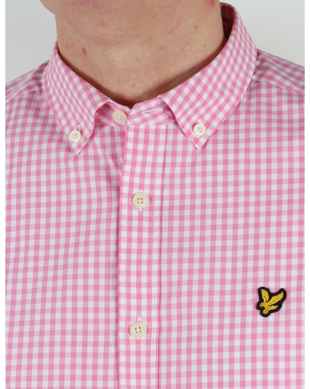 Lyle And Scott Short Sleeve Gingham Check Shirt Summer Pink