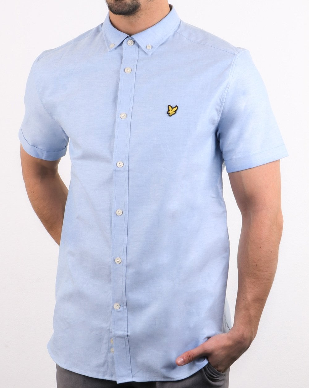 e7314508 Lyle and Scott Lyle And Scott Short Sleeve Oxford Riviera Pale Blue Shirt