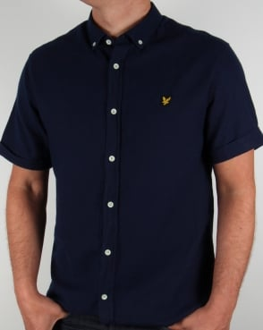 Lyle And Scott Short Sleeve Oxford Shirt Dark Indigo