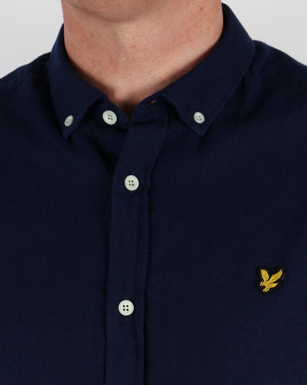 Lyle And Scott Short Sleeve Oxford Shirt Dark Indigomens