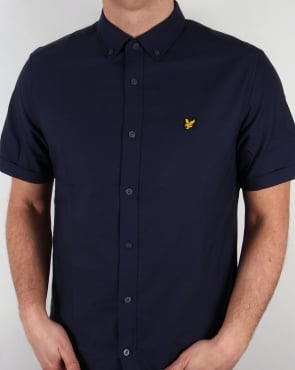 Lyle And Scott Short Sleeve Oxford Shirt Navy Button