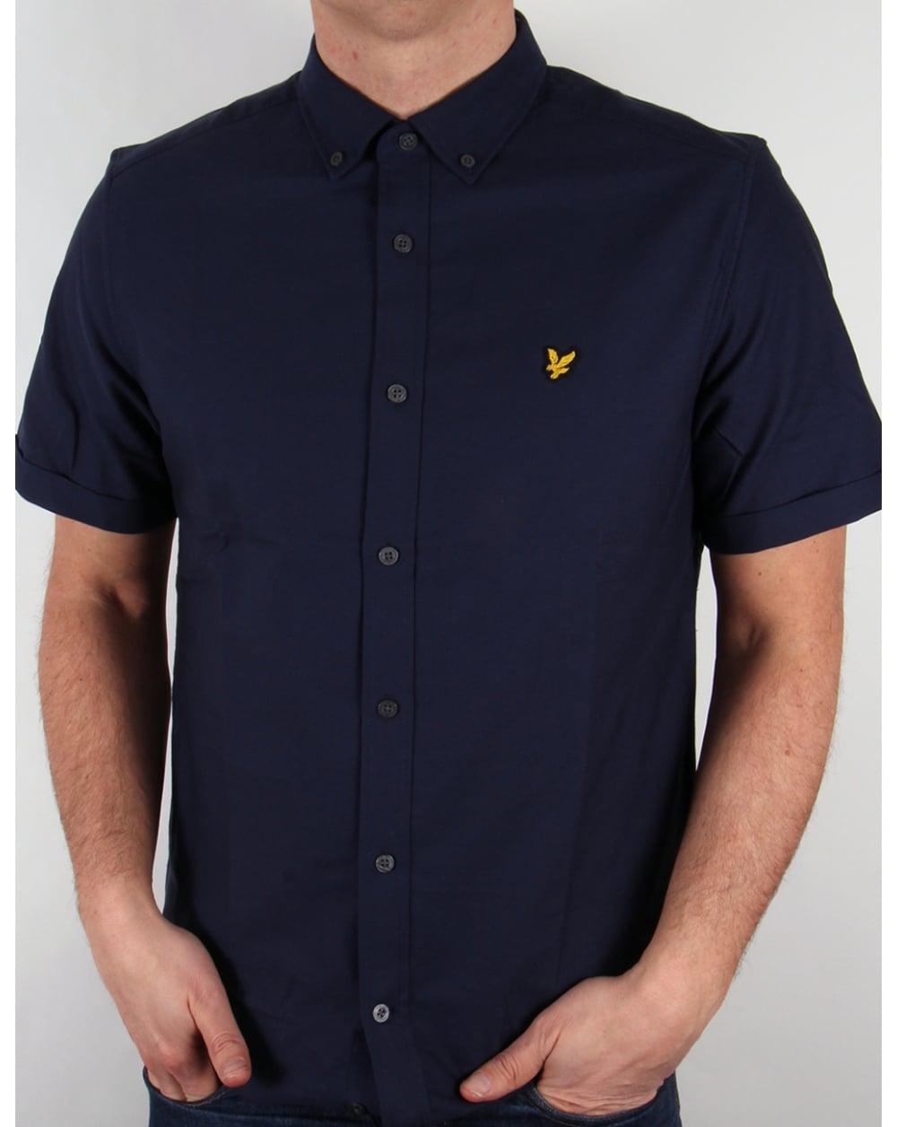 Lyle And Scott Short Sleeve Oxford Shirt Navy Mens Cotton