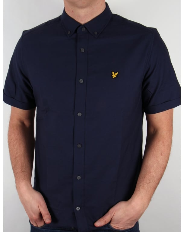 Lyle And Scott Short Sleeve Oxford Shirt Navy
