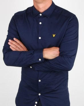 Lyle And Scott Slim Fit Poplin Shirt Navy