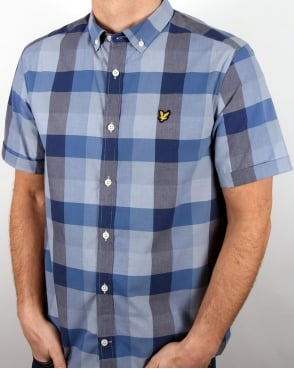 Lyle And Scott Ss Check Shirt Navy