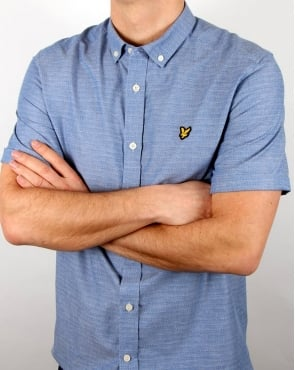 Lyle And Scott Ss Multi Coloured Running Stitch Shirt True Blue