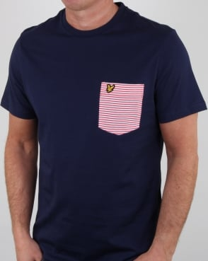 Lyle And Scott Stripe Pocket T Shirt Navy