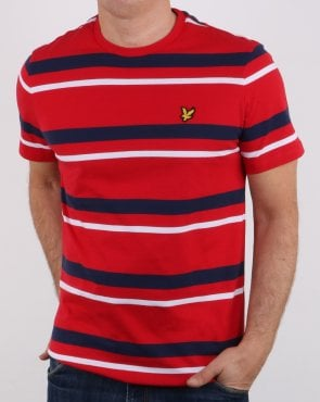 Lyle And Scott Stripe T-shirt Red