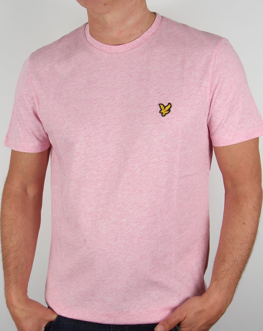 Lyle and scott t shirt mid pink marl tee mens crew neck for Lyle and scott shirt sale