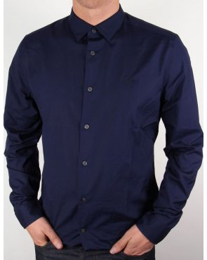 Lyle And Scott Tonal Badge L/s Poplin Shirt Navy Blue