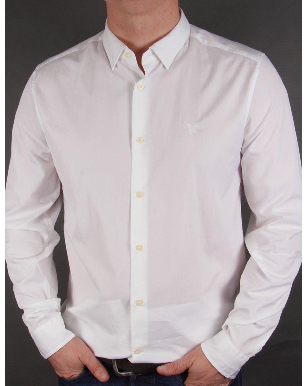 Lyle and scott tonal badge l s poplin shirt white smart for What is a poplin shirt