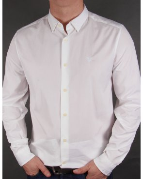 Lyle And Scott Tonal Badge L/s Poplin Shirt White