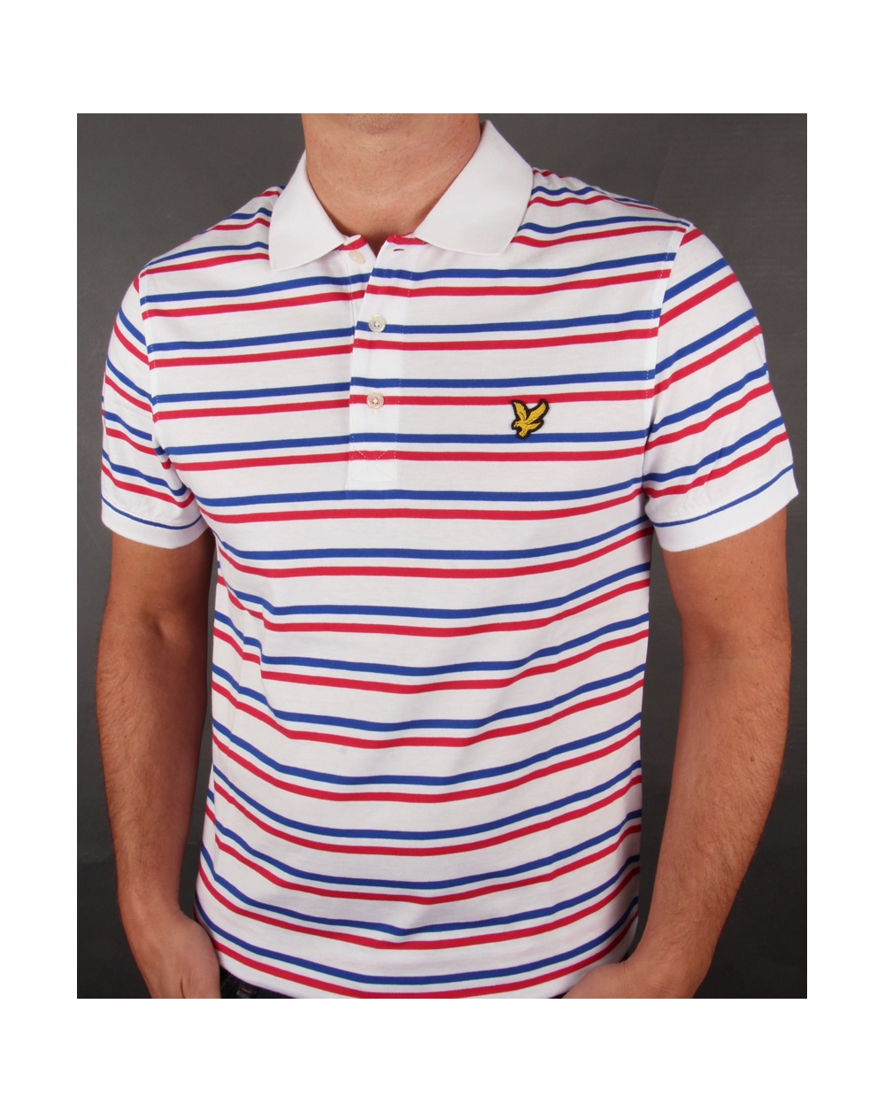 Lyle and scott tram stripe polo shirt white blue red for Red blue striped shirt