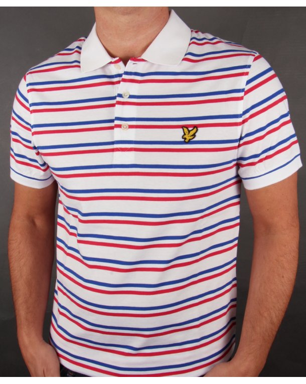 Lyle and scott tram stripe polo shirt white blue red for Red white striped polo shirt