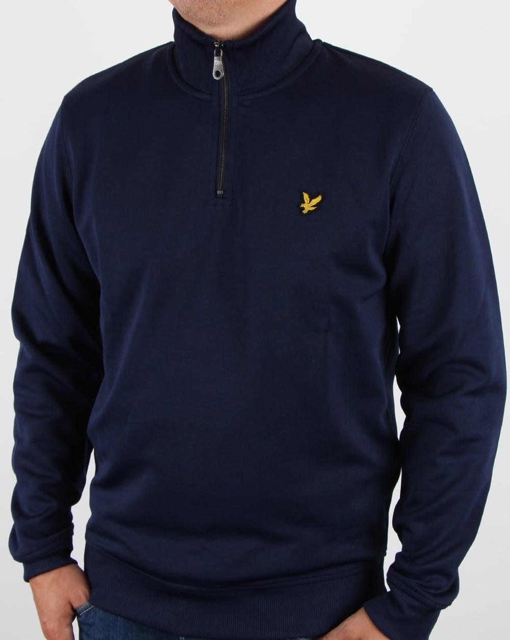 lyle and scott tricot 1 4 zip navy top track jacket mens. Black Bedroom Furniture Sets. Home Design Ideas