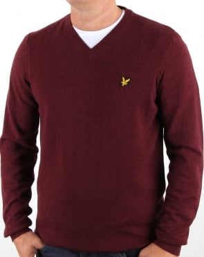 Lyle And Scott V Neck Cotton Merino Jumper Claret