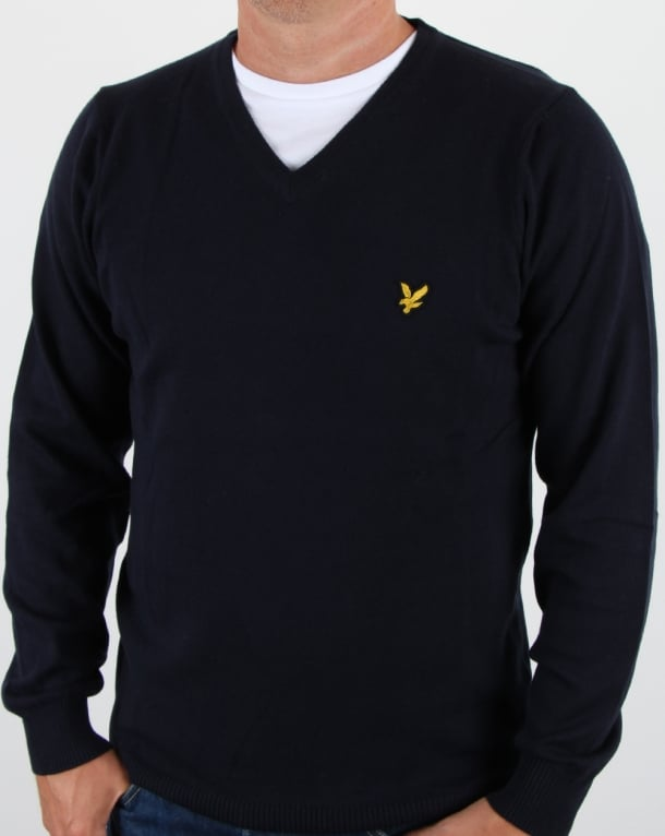 Lyle And Scott V Neck Cotton Merino Jumper Navy