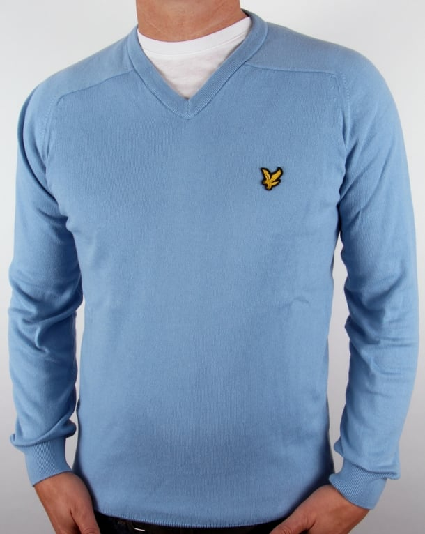Lyle And Scott V Neck Jumper Azure Blue