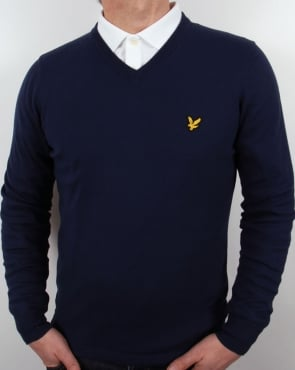 Lyle And Scott V Neck Jumper New Navy