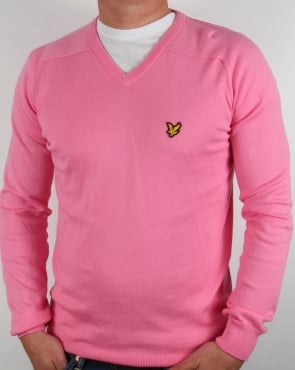 Lyle And Scott V Neck Jumper Pink