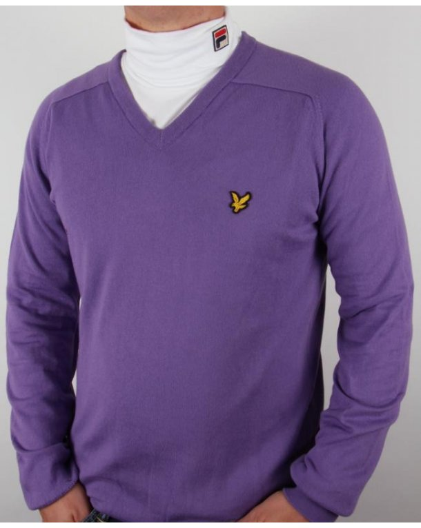 Lyle and Scott V Neck Jumper Purple