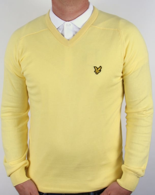 Lyle and Scott V Neck Jumper Yellow