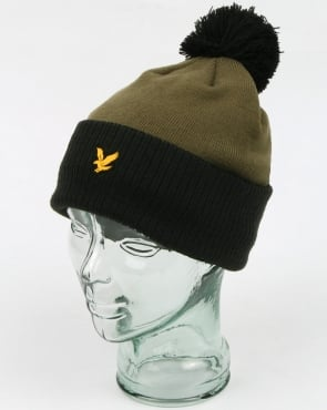 Lyle And Scott Walsh Bobble Beanie Black/olive