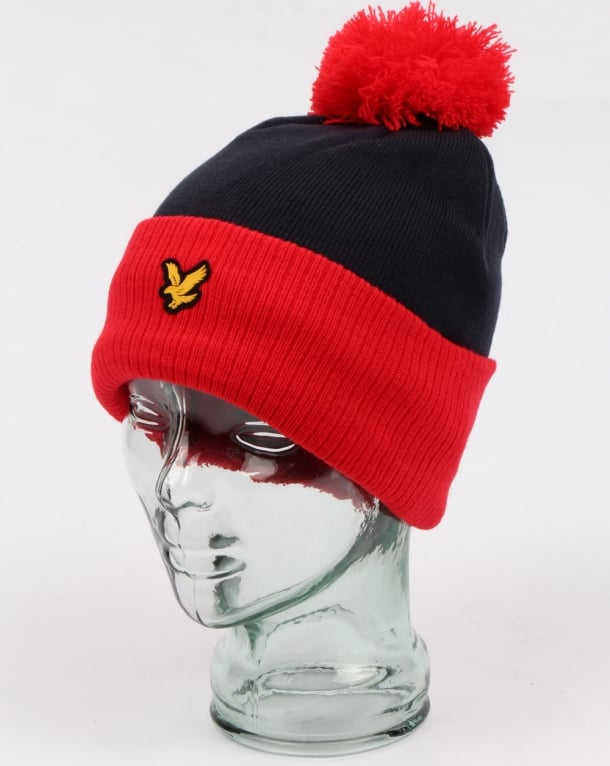 Lyle And Scott Walsh Bobble Beanie Red/navy