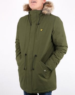 Lyle And Scott Winter Weight Microfleece Lined Parka Woodland Green