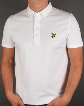 Lyle And Scott Woven Collar Polo Shirt White