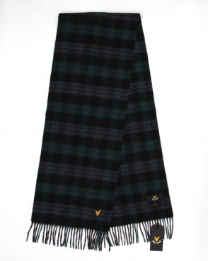 Lyle And Scott Woven Lambswool Scarf Emerald Green