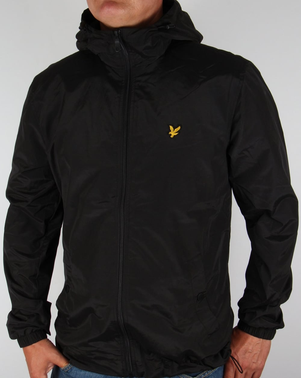 lyle and scott zip through hooded jacket black coat hoody mens. Black Bedroom Furniture Sets. Home Design Ideas
