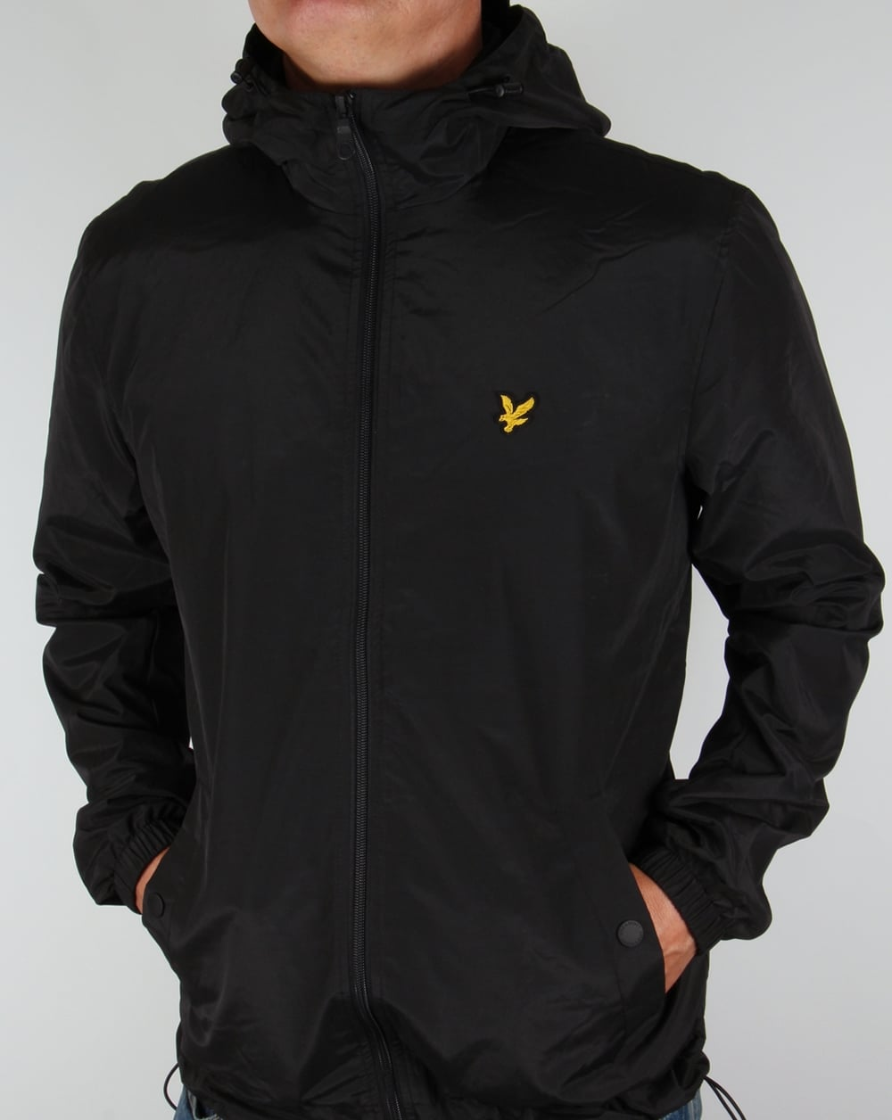 lyle and scott zip through hooded jacket black coat hoody mens