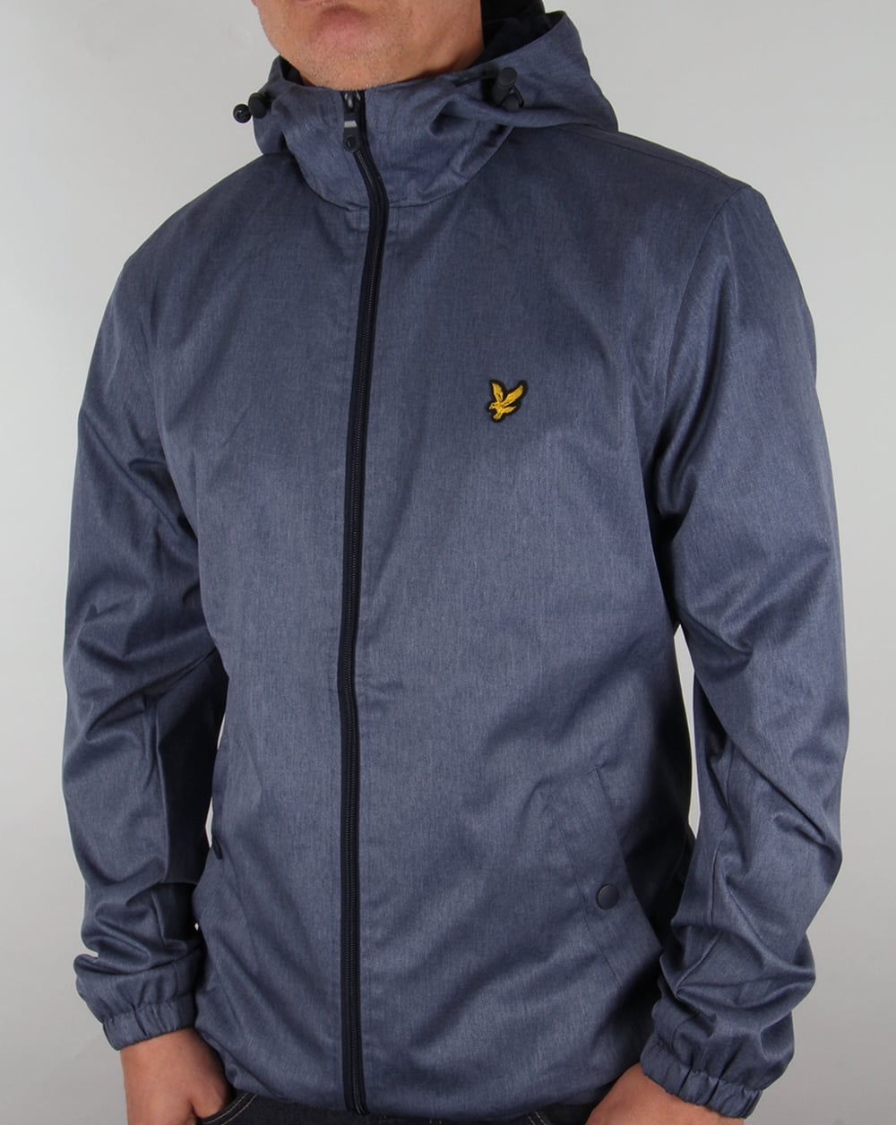 lyle and scott zip through hooded jacket blue marl coat. Black Bedroom Furniture Sets. Home Design Ideas