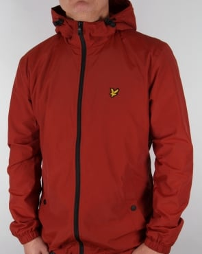 Lyle And Scott Zip Through Hooded Jacket Burnt Redwood