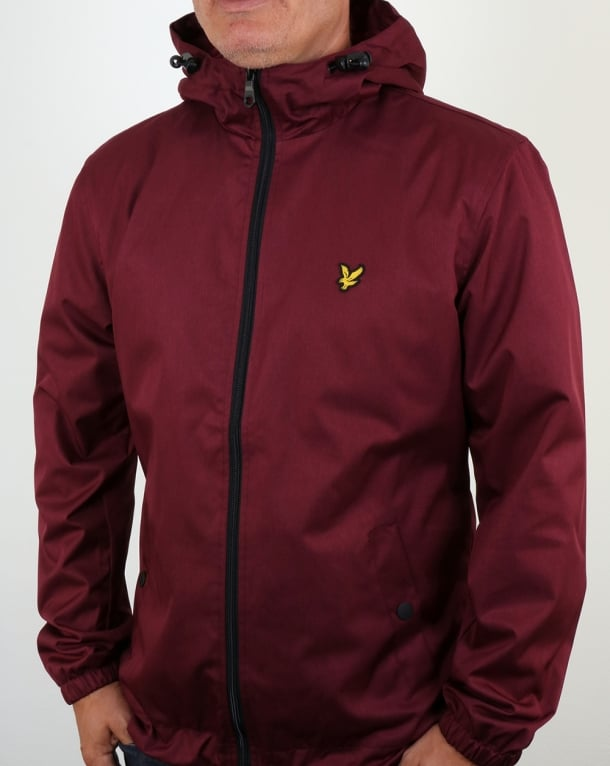 Lyle And Scott Zip Through Hooded Jacket Claret Marl