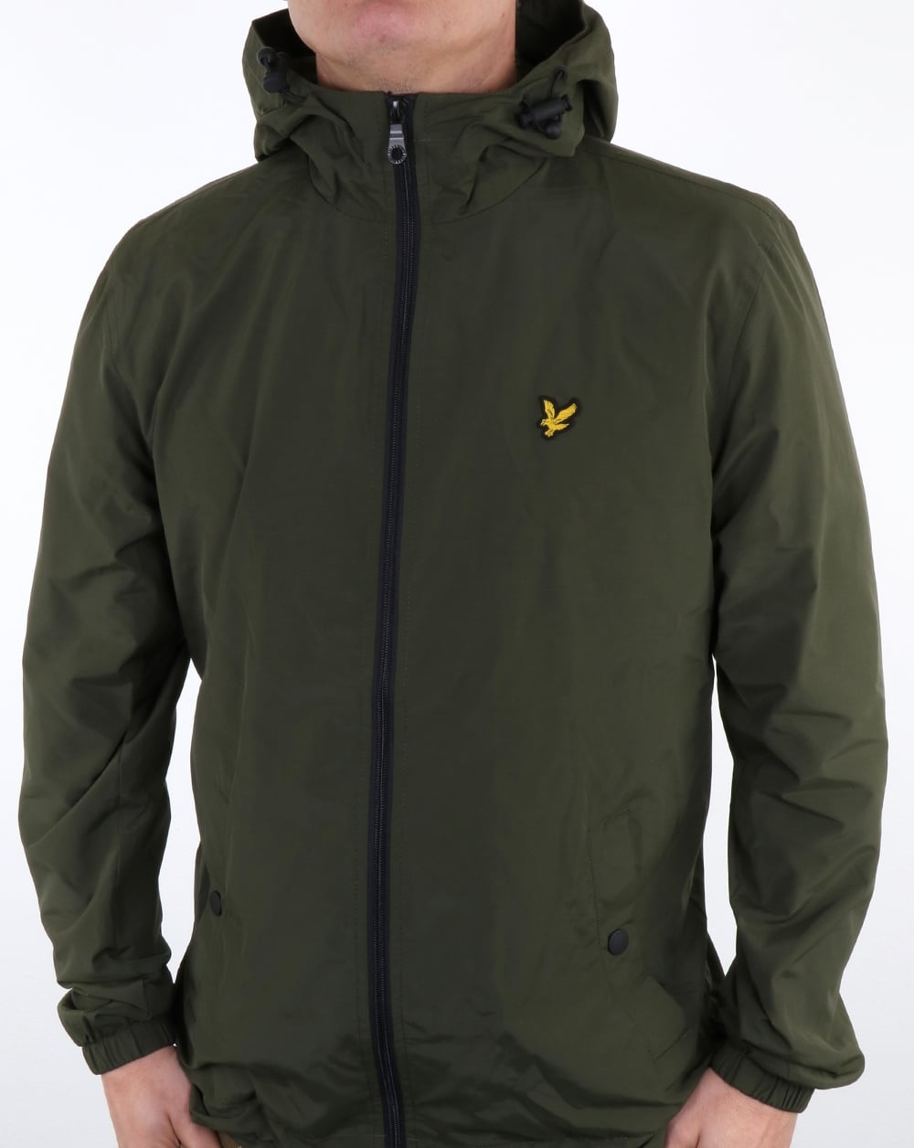 lyle and scott zip through hooded jacket dark sage coat. Black Bedroom Furniture Sets. Home Design Ideas