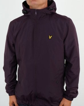 Lyle And Scott Zip Through Hooded Jacket Deep Plum