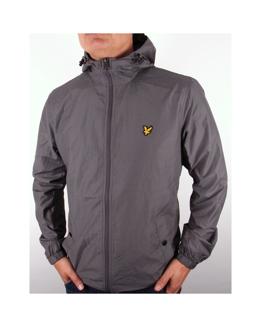 lyle and scott zip through hooded jacket graphite lyle. Black Bedroom Furniture Sets. Home Design Ideas