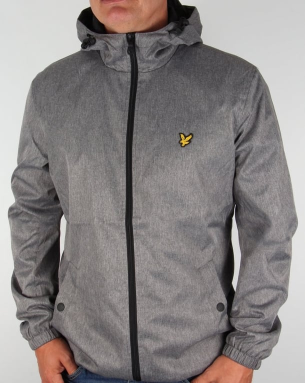 Lyle And Scott Zip Through Hooded Jacket Grey Marl