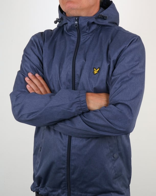 Lyle And Scott Zip Through Hooded Jacket Ink Blue Marl
