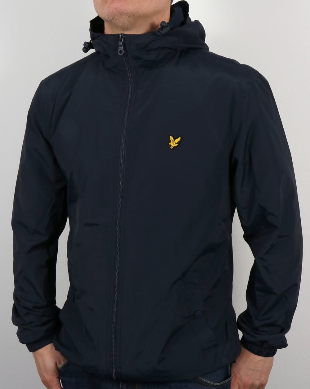 lyle and scott zip through hooded jacket navy coat shell mens. Black Bedroom Furniture Sets. Home Design Ideas