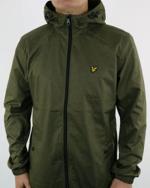 Lyle And Scott Zip Through Hooded Jacket Olive Marl