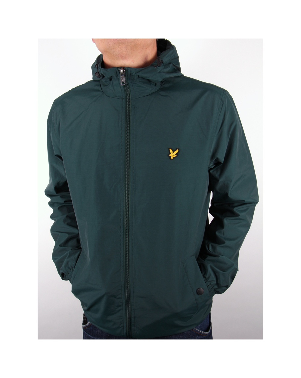 lyle and scott zip through hooded jacket scotts green. Black Bedroom Furniture Sets. Home Design Ideas