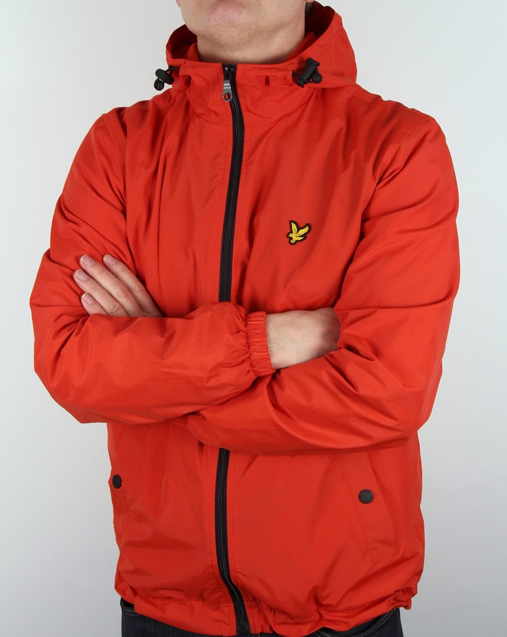 lyle and scott zip through hooded jacket flame red coat hoody mens. Black Bedroom Furniture Sets. Home Design Ideas