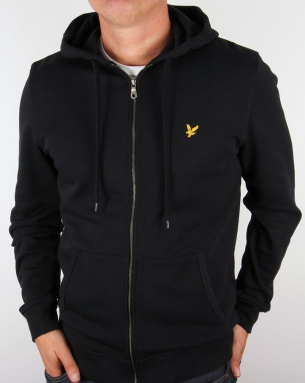 Lyle And Scott Zip Through Hoodie Black