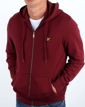 Lyle And Scott Zip Through Hoodie Claret Jug
