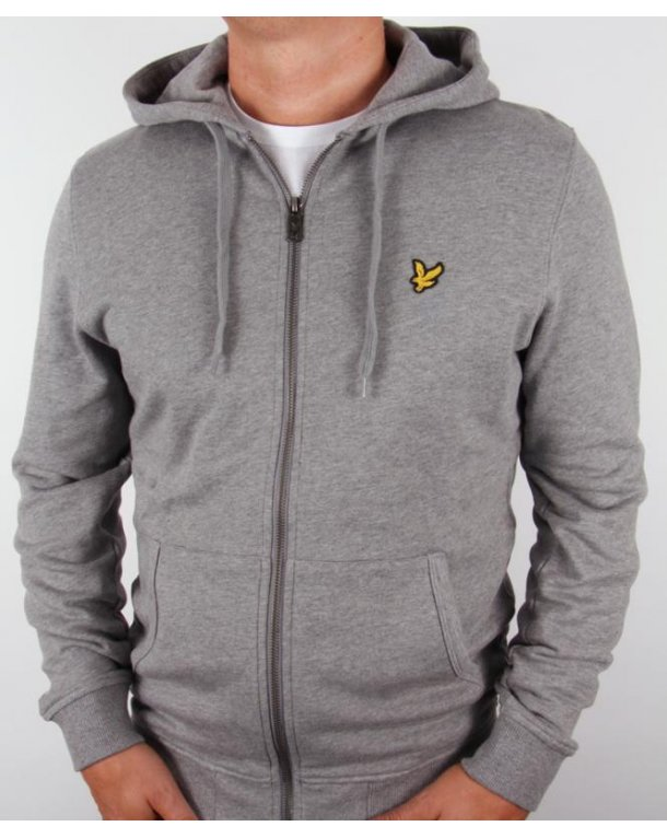 Lyle And Scott Zip Through Hoodie Mid Grey Marl