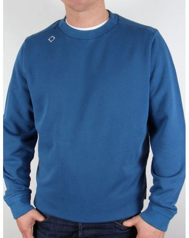 Ma.strum Garment Dyed Heavyweight Crew Sweat Vallarta Blue