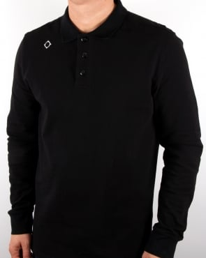 Ma.strum Long Sleeve Pique Polo Shirt Black